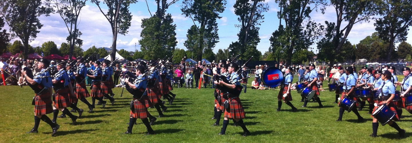Simon Fraser University Pipe Band at the 150th Victoria Highland Games